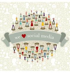 We Love social media network vector image