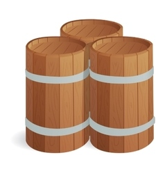 Wooden barrel isolated vector