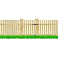 Wooden fence with the door vector