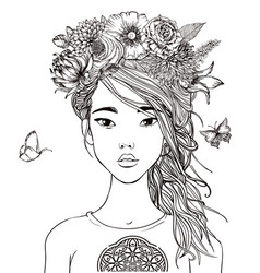 Young beautiful asian woman with flowers vector