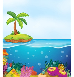 coral and palm tree on island vector image