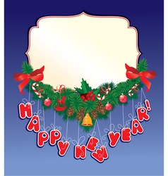 Christmas garland on blue background with empty fr vector