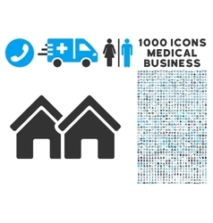 Houses icon with 1000 medical business pictograms vector