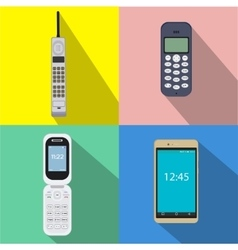 Set of history cell phones of vector image