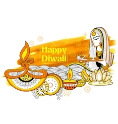 Lady burning diya on happy Diwali Holiday doodle vector image