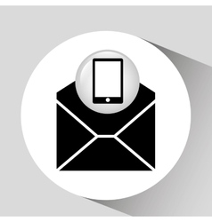Black smartphone device open envelope email vector