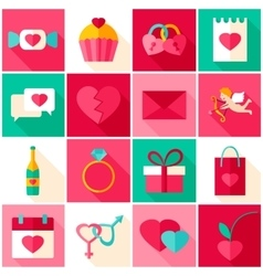 Happy valentines day colorful icons vector