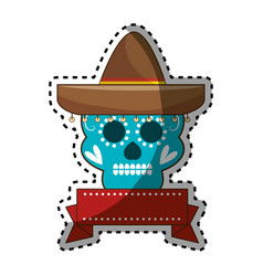 Sticker decorative ornamental sugar skull with vector