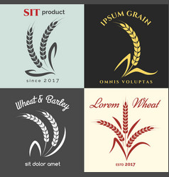Ears of wheat logo set vector