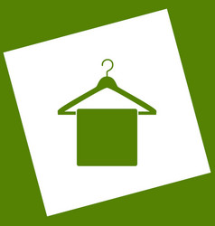Towel on hanger sign  white icon obtained vector