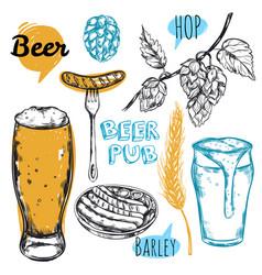 sketch beer pub icon set vector image