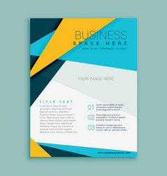 Blue and yellow geometric brochure flyer design vector