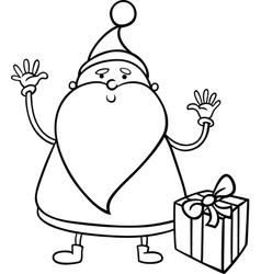 santa claus cartoon coloring page vector image