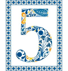 Blue number 5 vector image