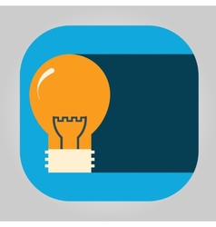 Icon glowing light bulb on a simple shield vector