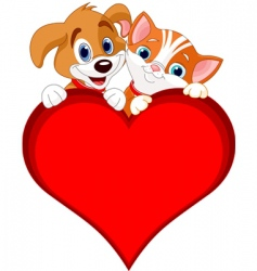 valentine cat and dog sign vector image