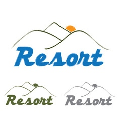Resort emblem with mountain and sun vector