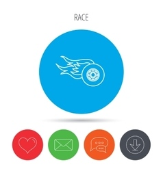 Wheel on fire icon race or speed sign vector