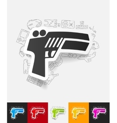 Gun game paper sticker with hand drawn elements vector