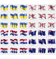 Ukraine jersey paraguay new zeland set of 36 flags vector