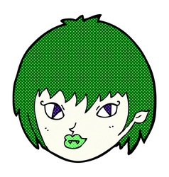 Comic cartoon vampire girl face vector