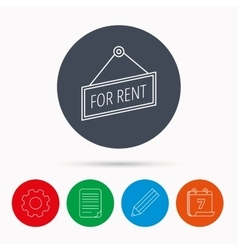 For rent icon advertising banner tag sign vector