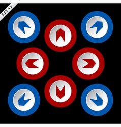 Red and blue arrows in eight directions vector