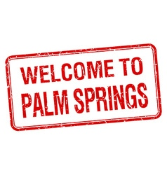 Welcome to palm springs red grunge square stamp vector
