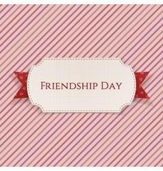 Friendship day card on red ribbon vector