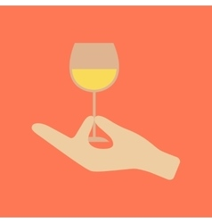 Flat icon on stylish background glass of wine vector