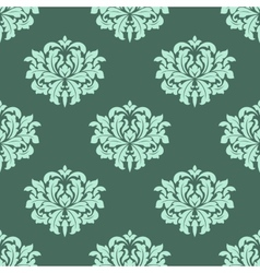 Abstract arabesque green seamless pattern vector