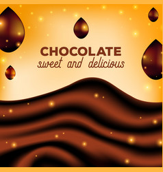 Abstract chocolate background with drops brown vector