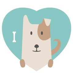 Animal set portrait of a dog in love flat vector