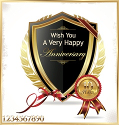 Anniversary golden shield vector image vector image