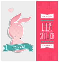 Baby shower invitation bunny girl vector
