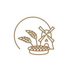 Bakery logo linear style store bread emblem vector