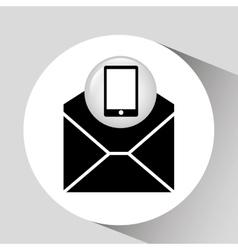 Black smartphone device open envelope email vector