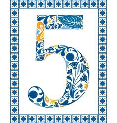 Blue number 5 vector