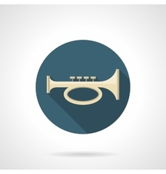 Brass horn flat color round icon vector