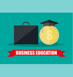 Business briefcase graduation cap gold coin vector