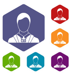 businessman with identity name card icons set vector image