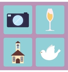 Camera cup of champagne dove and church design vector