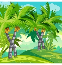Child jungle with coconut trees vector