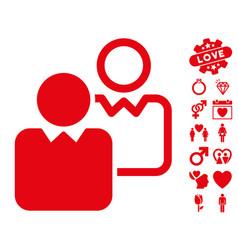 Clients icon with valentine bonus vector