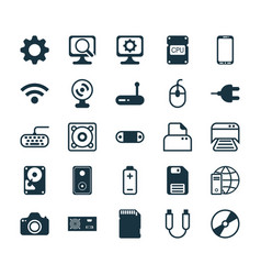 Computer icons set collection of internet network vector