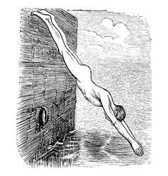 Diving vintage engraved vector