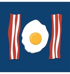eggs and bacon on blue background vector image vector image