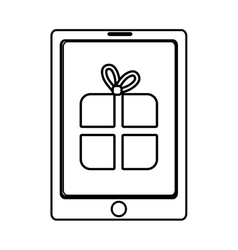 Electronic device with gift icon on the screen vector