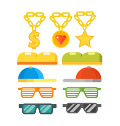 Fashion gold jewelry sunglasses retro accessory vector