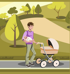 father pushing a stroller in the park vector image